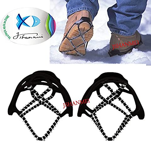 JSHANMEI ® Pair of Portable Anti-Slip Ice Grips Gripper Snow Winter Traction Device Cleats Crampon Slip on Lightweight Steel Coils, Traction Device Footwear for Skating Climbing Fishing Walking Jogging Hiking on Snow and Ice (Spring Traction