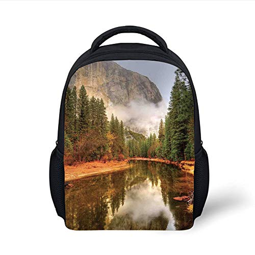 Kids School Backpack Yosemite,Trees Reflections on Merced River Yosemite Valley National Park California in The Fall,Green Plain Bookbag Travel Daypack