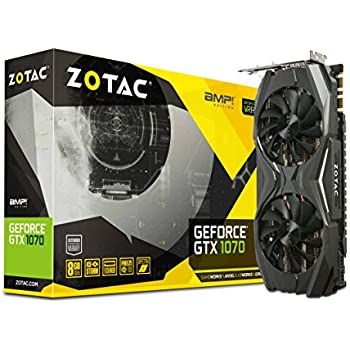 Zotac GTX1070 AMP! Edition - PCI-E Graphics Card (8GB GDDR5, Base: 1607 MHz, Boost:1797 MHz, Memory Clock 8 GHz)