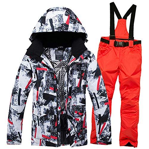 Ski Suit Jacket Suits Tuta da Sci Invernale per Uomo Giacche E Pantaloni Impermeabili Antivento Caldi Giacca da Sci da Sci Maschile Camouflage Red XL