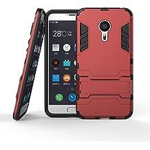 Funda Libro para Meizu MX5 (5.5 pulgada) , Ycloud el teléfono Strongest a prueba de golpes armadura doble protección de concha protectora de duro soporte cubierta protectora Vino tinto