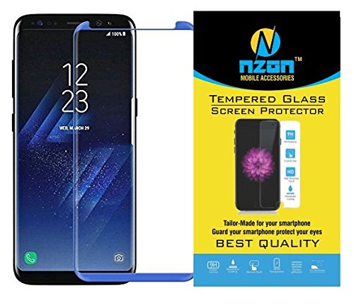 Galaxy S8 Tempered Glass, [S8 Full Cover] [Edge to Edge Crash Protection] Curve [Scratch Proof] [Bubble Free] Tempered Glass Screen Protector for Samsung Galaxy S8 – Blue