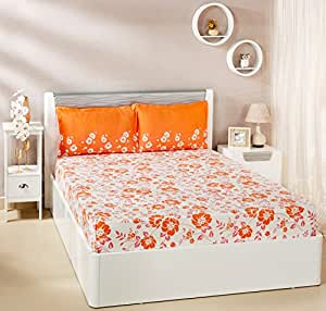 Amazon Brand - Solimo Jasmine Zest 144 TC 100% Cotton Double Bedsheet with 2 Pillow Covers, Peach
