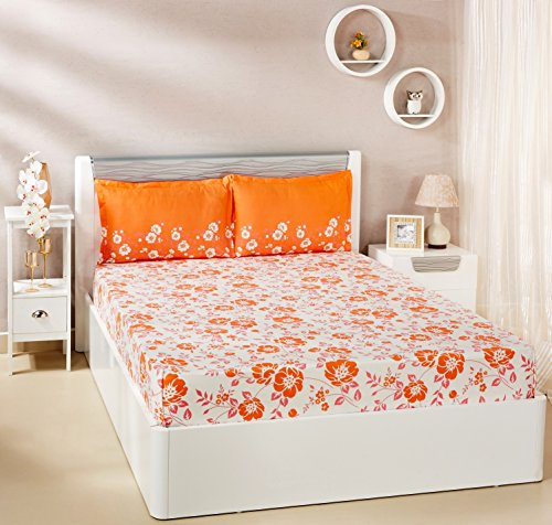 Solimo Jasmine Zest 144 TC 100% Cotton Double Bedsheet with 2 Pillow...