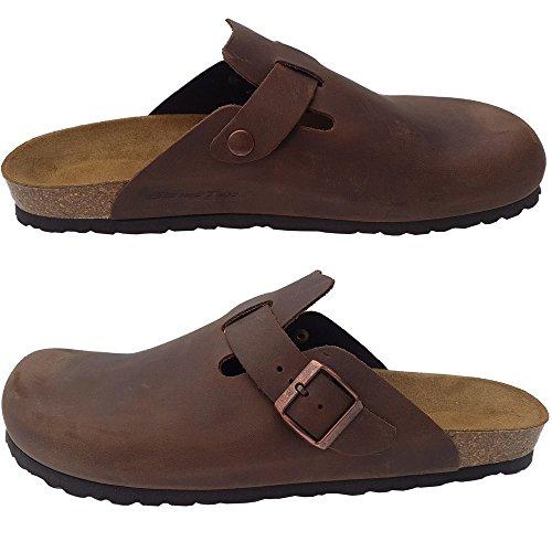 Herren Clog Aus Leder in der Farbe Braun Hausschuh Pantolette Pantoffel EUR 43