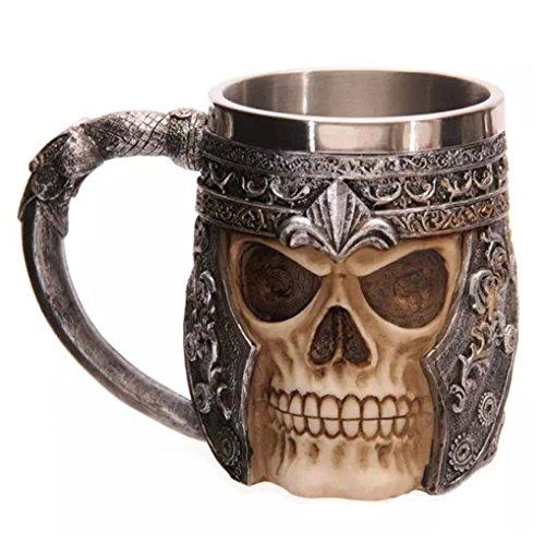 Txyk Edelstahl Totenkopf Drink Cup Creative 3D Tassen Totenkopf Skull Mug 15 x 10.5 cm Kapazität 301-400ml