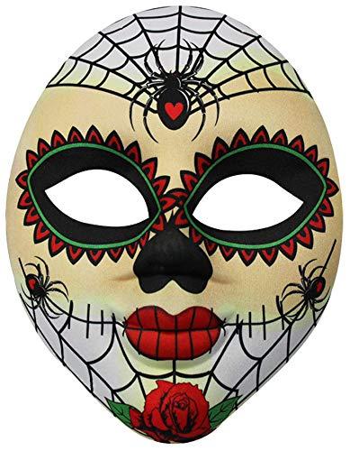 com-four® Gesichtsmaske Dia de los Muertos für Fasching, Karneval oder Halloween, Farbe: weiß/bunt (01 Stück - Mexikanisch)