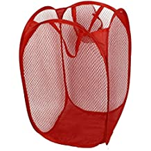 Cesta de ropa sucia - SODIAL(R)Sostenedor Cesta Bolsa de malla plegable de lavanderia ropa sucia domestico Rojo