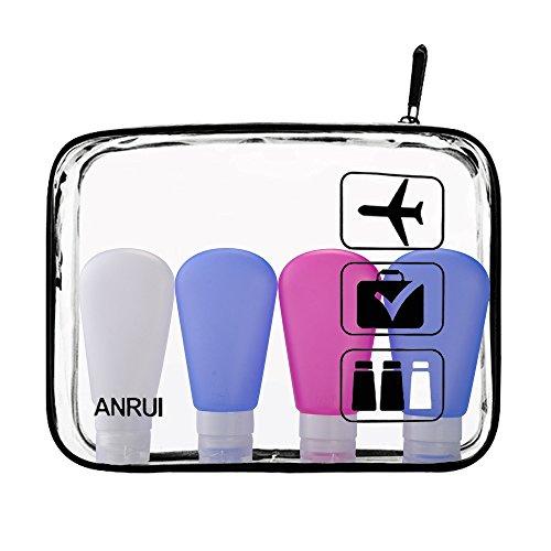 Transparente Carry-On Bolsa de viaje de viaje, TSA Airport Airline Cumple Bolsa de Quart bolso de cremallera para cosméticos, contenedores, hombres y mujeres 3-1-1 Kit (conjunto de 3, grandes) (Pequeño con 4 botellas, negro)