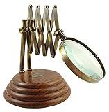 Lente da lettura in ottone Lente in vetro e legno regolabile Decorazione di tavolo, Ottone, Antique or et marron