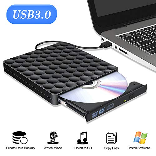 Externes DVD Laufwerk USB 3.0 Portable externer DVD Brenner Superspeed Externes CD Laufwerk USB Writer Reader Für Windows 10/7/8 Linux Laptops Desktop Apple MacBook Pro iMac (Dvd Writer-player Portable)