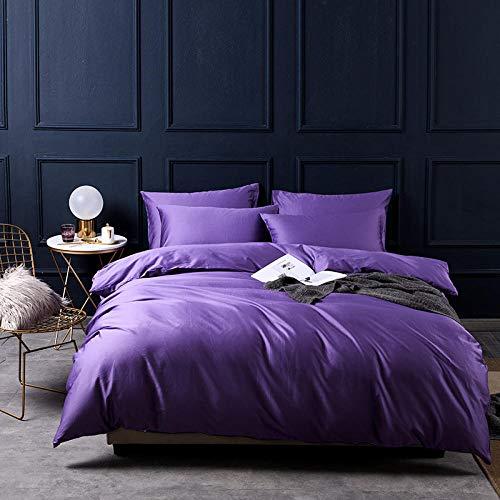 SHUDA_bed Einfache Baumwollbettwäsche, einfarbig, Satin, langstapelig, 4er-Set -
