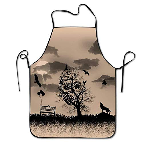 QIAOJI Delantal Tattoo Wolf Skull Deluxe Aprons Personalized