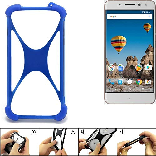 K-S-Trade Bumper für General Mobile GM 5 Plus Silikon Schutz Hülle Handyhülle Silikoncase Softcase Cover Case Stoßschutz, blau (1x)