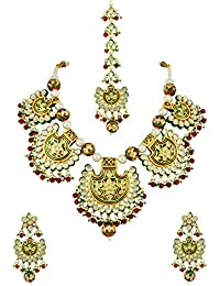 Red Green Vilandi Kundan Necklace Set With Maang Tika Jewellery For Women - Orniza