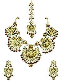 Red Green Vilandi Kundan Necklace Set With Maang Tika Jewellery For Women - Orniza