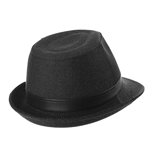 WITHMOONS Chapeau Fedora Herringbone Dotted Fedora Hat Faux Leather Banded LD6591 Noir