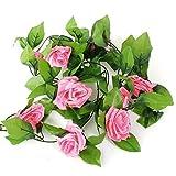 Alcioneo 2,4m artificiale rose Garland fiore foglia vite Home wedding Garden party Decor, Dark Pink, taglia unica