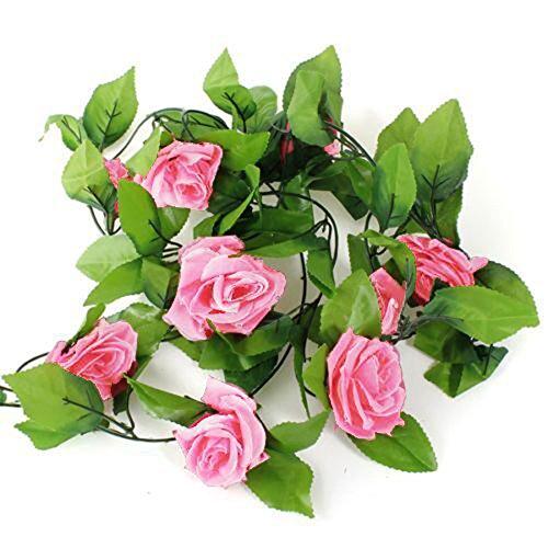 Galleria fotografica Alcioneo 2,4m artificiale rose Garland fiore foglia vite Home wedding Garden party Decor, Dark Pink, taglia unica