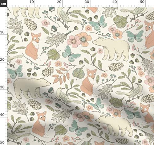 Seidig Salbei (Baby, Fuchs, Bär, Schmetterling, Salbei, Toile De Jouy Stoffe - Individuell Bedruckt von Spoonflower - Design von Fernlesliestudio Gedruckt auf Chiffon)