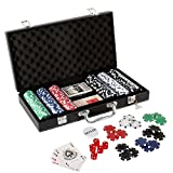 #6: Jonquin Casino Poker Set with 300 Poker Chips, Playing Cards in Leather Style Case