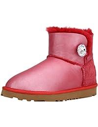 Shenduo - Boots fourrées femme cuir de mouton, Bottes de neige courtes doublure chaude en laine D5096