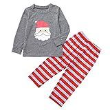 BaZhaHei Weihnachten Schlafanzüge für die Ganze Homewear Familie Weihnachtspyjamas Indoor Shirt Hosen 2Pcs Schlaf Nachtwäsche Langarm Nachtwäsche Streifen Schlafanzug Sleepwear Sweater Set