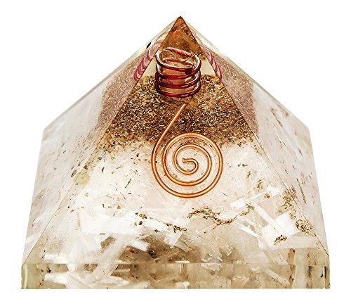 Orgonit-Pyramide aus Selenit-Schmuckstein, qualitativ hochwertig, Orgon-Energiegenerator, wunderschön graviert, in Geschenkverpackung (Selenit 40 - 55mm) -