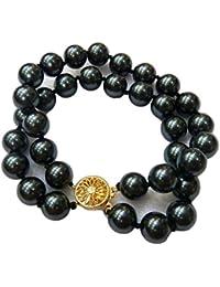 Schmuckwilly Muschelkernperlen Perlenarmband Perlen - Muschelkernperlen Armband 2-reihig schwarz Hochwertige mb0051