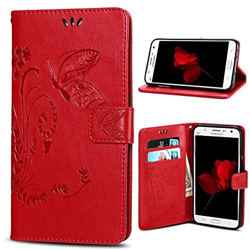 Housse Samsung J3 (2016), SpiritSun Etui en PU Cuir Portefeuille Coque Protection pour Samsung Galaxy J3 (2016) Fleur et Papillon Modèle Case avec Fonction Support Stand (Rouge)
