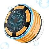 Bluetooth Tragbare Lautsprecher, Goodsmiley bewegliche wasserdichte drahtlose Dusche Lautsprecher mit Saugnapf und Licht (Orange)