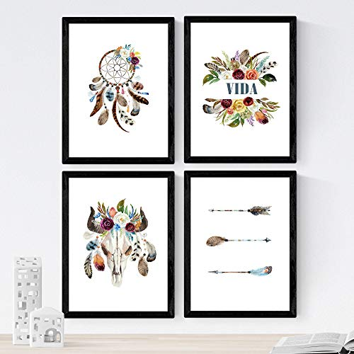 Nacnic Set de 4 láminas de Plumas,en tamaño A4, Poster Papel 250 gr Marco