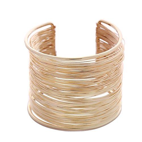 Guirui Jewelry Mode Damen Multilayer Armreif - Weit Offen Armreif Armband, Gold