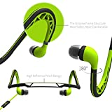 Neckband Sports Earbud,Workout Earphone with Microphone,Stereo Headset with Noise Isolating,Sweatproof In-Ear Headphone for iPhone Android,Green