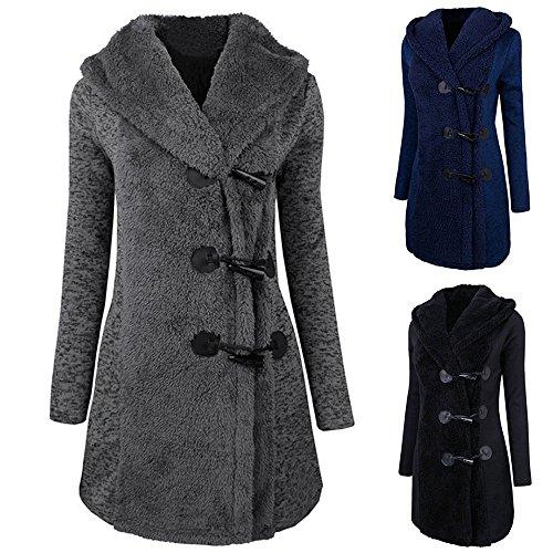 Vêtements LILICAT Femmes Mode Hiver Plus Épais Boutons Chauds Manteau Parka Hoodie Outwear gray