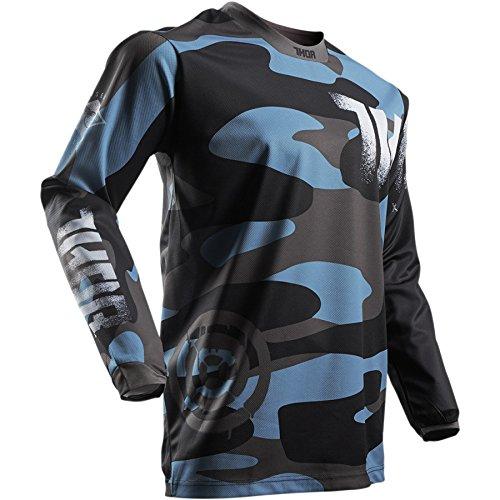 Thor Pulse Covert Midnight Motocross Jersey Trikot Shirt Enduro Offroad Cross Sx Mx Schwarz Blau (XL, Blau / Schwarz) (Mountainbike-shirts Für Männer)