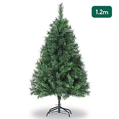 SALCAR Albero di Natale 120 cm, artificialmente con 279punte, ignifugo, Abete, Costruzione Rapida incl. Supporto per Albero di Natale, Natale, Verde Deco 1,2 m