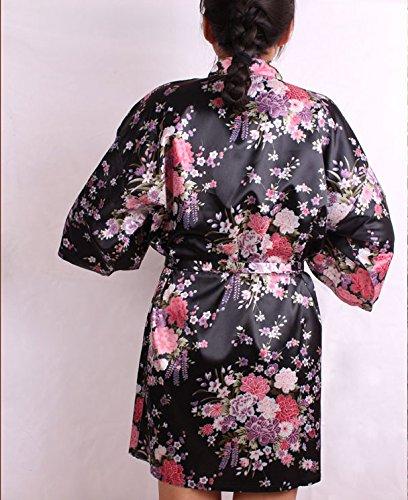 ACVIP Damen Blumen Muster Nachtwäsche Bademantel Morgenmantel mit Gürtel Hauskleid Schwarz