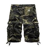 Herren Cargo Shorts Camo Bermuda Kurz Hose Camouflage Sommerhose Loose Fit Dark Armee Green 30