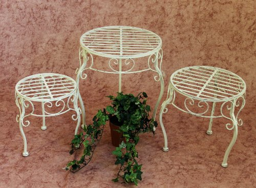 Schmiedeeisen Beistelltisch (DanDiBo Blumenhocker Metall Weiß Rund 3er Set Blumenständer 20218 Pflanzenständer Beistelltisch Klein)