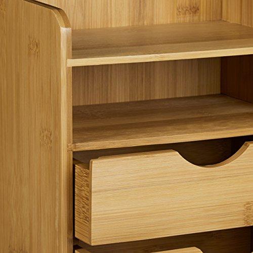 Relaxdays Schreibtisch-Organizer HBT: 21x20x13cm Ablagesystem aus Bambus für den Schreibtisch Organizer mit 2 Ablagen und 2 herausnehmbaren Schubladen Aufbewahrungsbox als Briefablage fürs Büro, natur - 5