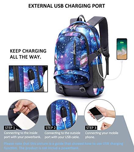 E-ZONED Zaino Scuola Superiore Per PC 15.6 Pollici da Donna e Uomo, Backpack Portabile Casual Rucksack per Laptop Universita Viaggio con Presa Ricarica USB (Galassia) - 2