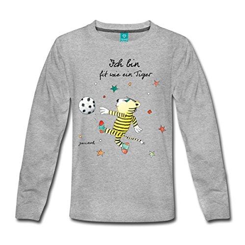 Spreadshirt Janosch Fit Wie Der Kleine Tiger Fußball Kinder Premium Langarmshirt, 122/128 (6 Jahre), Grau meliert (Mädchen Dribbeln, Fußball-t-shirt)