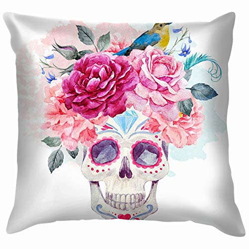 beautiful& Watercolor Print Mexican Holiday Day Dead Nature Skull Pillow Case Throw Pillow Cover Square Cushion Cover 18X18 Inch (Halloween En De Hoteles Fiesta)