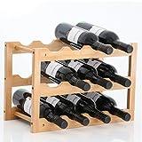 Gräfenstayn 30550 Weinregal VERONA - aus Bambus-Holz für 12 Wein-Flaschen - Größe 42x21x28 cm (LxBxH) Weinflaschenhalter Weinkiste Flaschenregal