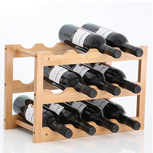Gräfenstayn® 30550 Weinregal VERONA - aus Bambus-Holz für 12 Wein-Flaschen - Größe 42x21x28 cm (LxBxH) Weinflaschenhalter Weinkiste Flaschenregal