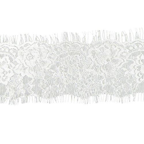 perfk Elastische Spitze Trim Spitzenband Spitzenbordüre - Weiß, 10cm*300cm (Lace Trim-unterstützung)