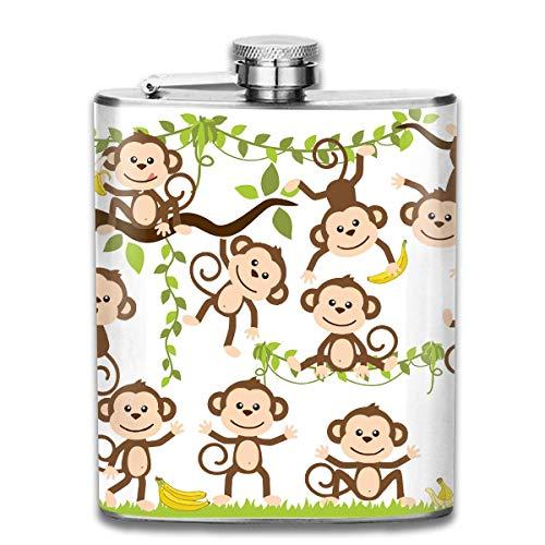Karikatur-Baby-Affe-Druck-Edelstahl-Flasche 7 Unze