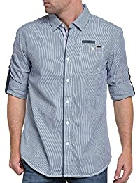 Deeluxe 74 - Chemise homme bleu rayé poche poitrine stylé