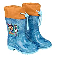 PERLETTI Paw Patrol Rain Boots for Kids - Waterproof Wellies Shoes with Anti Slip Outsole - Colored Wellington for Boy with Dogs Police Fireman - Light Blue and Orange - 5 Size